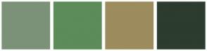 Color Scheme with #7B9278 #5C8C59 #9C8C5E #2C3C2E