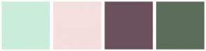 Color Scheme with #C9EEDA #F6DFDF #6B515C #5D6D5C