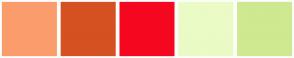 Color Scheme with #FB9C6C #D55121 #F5081F #EAFBC5 #CFE990