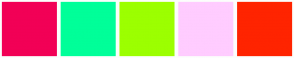 Color Scheme with #F20056 #00FF99 #9CFF00 #FFCCFF #FF2400