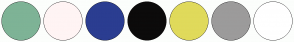 Color Scheme with #7EB396 #FFF4F4 #2B3D91 #0C0B0B #E0DA5B #9C9B9B #FFFFFF
