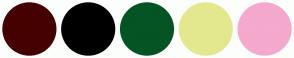 Color Scheme with #450000 #000000 #055424 #E3E88E #F4A9CD