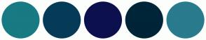 Color Scheme with #187A83 #063B58 #0C114D #002438 #297B8D