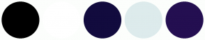 Color Scheme with #000000 #FFFFFF #120B3E #DDEBEC #240F51