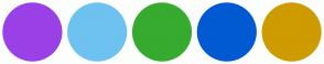 Color Scheme with #9A40E7 #6DC2F0 #36AB2F #015AD2 #CE9B01