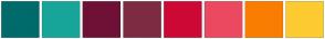 Color Scheme with #006B6B #17A599 #6F1036 #7D2B42 #CD0835 #EB495F #F97D01 #FECB31