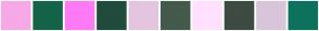 Color Scheme with #F7A8E7 #156348 #FF7AF5 #214B3C #E3C5DF #445A4C #FFE1FF #3D4B43 #D9C5D9 #0D725C