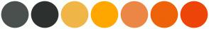 Color Scheme with #4A504E #2D312F #F0B648 #FFA700 #EC8745 #EE6308 #EE4508