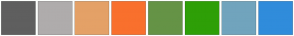 Color Scheme with #5F5F5F #AFACAC #E4A167 #F9702D #659346 #2E9F07 #71A4BD #308CDB