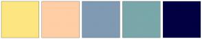 Color Scheme with #FDE681 #FFCEA4 #809AB3 #79A7AA #000042