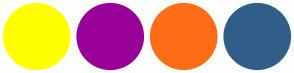 Color Scheme with #FFFF00 #990099 #FF6D17 #315E88