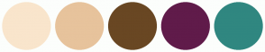 Color Scheme with #F9E5CC #E7C39C #694723 #601B4A #308780