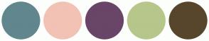 Color Scheme with #62868D #F2C2B5 #694567 #B7C68B #58462C