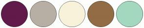Color Scheme with #601B4A #B7AFA3 #F8F2DA #926C44 #A3D8BF