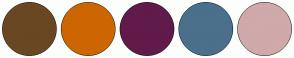 Color Scheme with #694723 #CD6600 #601B4A #4A708B #D0A9AA