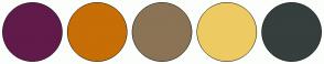 Color Scheme with #601B4A #C76E06 #8B7355 #EDCB62 #353F3E