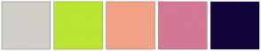 Color Scheme with #D2CFC9 #BAE530 #F2A285 #D37895 #11043C