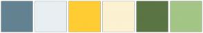 Color Scheme with #638291 #E8EFF3 #FFCC33 #FCF1D1 #5B7444 #A3C586