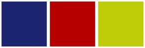 Color Scheme with #1D2472 #B60000 #BFCC08