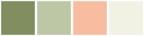 Color Scheme with #818E60 #BDC7A5 #F6BDA0 #F2F2E4