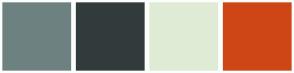 Color Scheme with #6E8181 #323B3B #DFEBD5 #CE4516