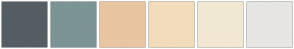 Color Scheme with #545E63 #7D9495 #EAC5A2 #F3DCBB #F2E8D2 #E7E6E4