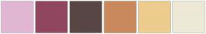 Color Scheme with #E1B6D3 #91465F #574644 #CA895C #EDCC8E #EDE9D6