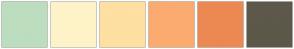 Color Scheme with #BDDDBF #FEF3C8 #FDE0A2 #FBAB6F #EC8953 #5D584A