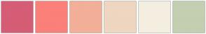 Color Scheme with #D55D75 #FA8079 #F3AF97 #EED6C0 #F4EEE0 #C3CFB0