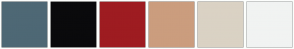 Color Scheme with #4E6875 #0A0A0C #9E1C21 #CB9D7E #DAD2C4 #F1F3F2