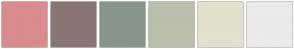 Color Scheme with #DA8B8D #8A7575 #88958C #B9BFAA #E3E0CD #ECEAEB