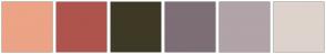 Color Scheme with #EDA385 #AE544D #3E3925 #7E6E76 #B1A3A7 #DED3CC