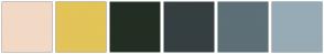 Color Scheme with #F2D9C6 #E2C458 #232E22 #353F42 #5D6F77 #96ABB5