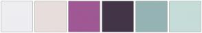 Color Scheme with #EEEDF1 #E7DEDC #9F5894 #433548 #96B3B4 #C6DCD8