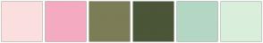 Color Scheme with #FBDFDF #F4ABC2 #7C7C56 #4B5538 #B4D7C4 #D9EFDC