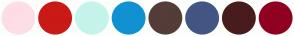 Color Scheme with #FDDEE5 #CA1A16 #C4F4EB #1091D1 #543C38 #435583 #481C1C #900020