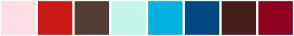 Color Scheme with #FDDEE5 #CA1A16 #543C38 #C4F4EB #03B2DD #014884 #481C1C #900020