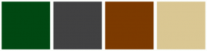 Color Scheme with #004812 #414142 #7C3A00 #DAC793