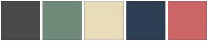 Color Scheme with #4A4A4A #6F8A79 #E9DCB9 #2E3F53 #CC6666