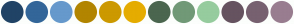 Color Scheme with #204366 #336699 #6699CC #B28500 #CC9900 #E5AC00 #4B664F #719977 #96CC9E #665360 #776170 #997D90