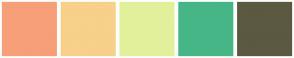Color Scheme with #F79F79 #F7D08A #E3F09B #47B687 #5B5941