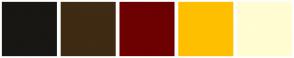 Color Scheme with #181713 #3F2A14 #6D0000 #FFBF00 #FFFDD1