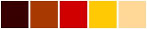 Color Scheme with #380000 #A83A01 #D10000 #FFCA03 #FFD898