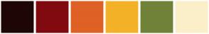 Color Scheme with #1E0705 #810A10 #DF6125 #F3B227 #708238 #FBEFC9