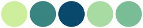 Color Scheme with #CDEE9D #398581 #09496C #A8DBA2 #79BD96