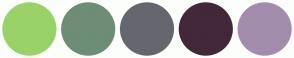 Color Scheme with #99D269 #6D8D76 #66666E #432839 #A28DAC