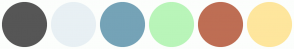 Color Scheme with #565656 #E8F0F4 #75A3B7 #B9F5B9 #BE6E54 #FEE69D