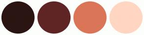 Color Scheme with #2B1512 #5F2525 #DB7558 #FFD6C2