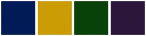 Color Scheme with #001B56 #CC9C05 #094208 #2C163A