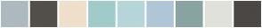 Color Scheme with #ADB9BF #534F49 #EFDFCB #A1CCCA #B6D6DA #B1C6D7 #89A3A3 #E1E2DA #4B4745